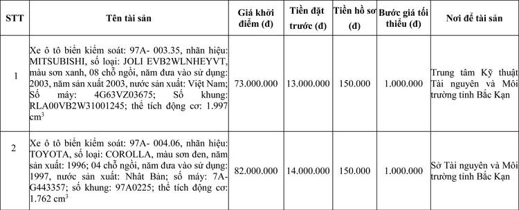 Ngày 4/6/2020, đấu giá 2 xe ô tô MITSUBISHI và TOYOTA tại tỉnh Bắc Kạn ảnh 1