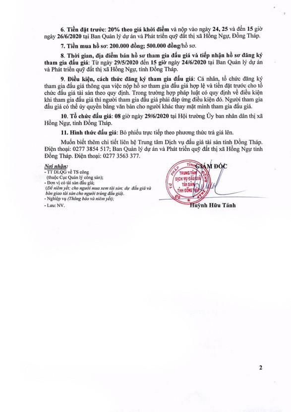 Ngày 29/6/2020, đấu giá quyền sử dụng đất tại thị xã Hồng Ngự, tỉnh Đồng Tháp ảnh 2