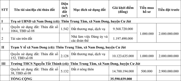 Ngày 22/6/2020, đấu giá quyền sử dụng đất tại huyện Cư Jút, tỉnh Đắk Nông ảnh 1
