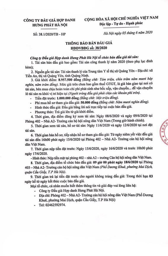 Ngày 18/6/2020, đấu giá máy móc thiết bị tại tỉnh Quảng Ninh ảnh 1