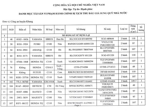 Ngày 22/6/2020, đấu giá tài sản bị tịch thu do vi phạm hành chính tại tỉnh Gia Lai ảnh 1