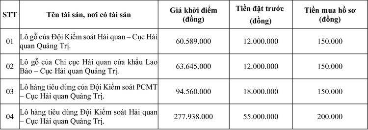 Ngày 25/6/2020, đấu giá hàng hóa tịch thu sung quỹ tại tỉnh Quảng Trị ảnh 1