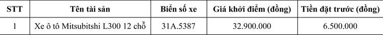 Ngày 25/6/2020, đấu giá xe ô tô Mitsubitshi tại Hà Nội ảnh 1
