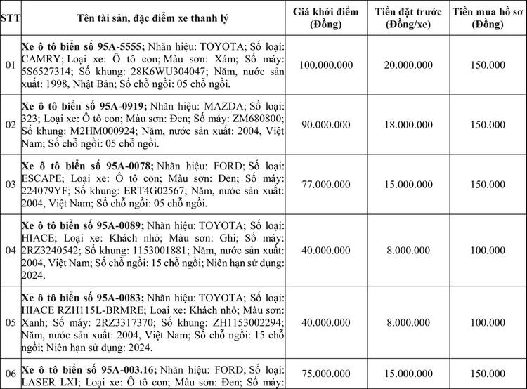 Ngày 2/7/2020, đấu giá 21 xe ô tô thanh lý tại tỉnh Hậu Giang ảnh 1