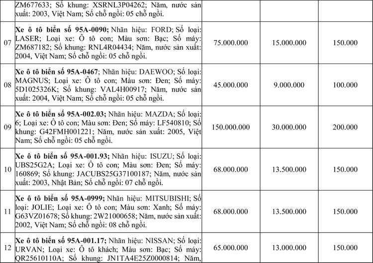 Ngày 2/7/2020, đấu giá 21 xe ô tô thanh lý tại tỉnh Hậu Giang ảnh 2