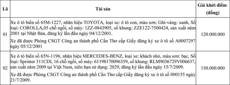 Ngày 1/7/2020, đấu giá 2 xe ô tô tại thành phố Cần Thơ ảnh 1