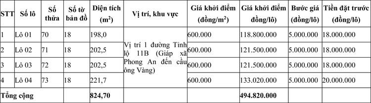 Ngày 18/7/2020, đấu giá quyền sử dụng đất tại huyện Phong Điền, tỉnh Thừa Thiên Huế ảnh 2