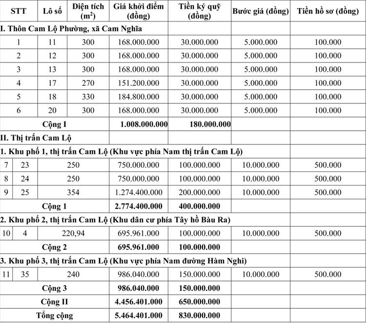 Ngày 16/7/2020, đấu giá quyền sử dụng đất tại huyện Cam Lộ, tỉnh Quảng Trị ảnh 1