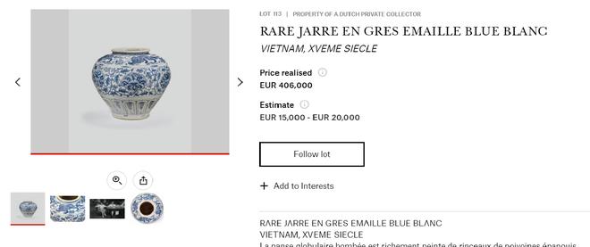 Chum gốm Việt thế kỷ 15 bán đấu giá thành công hơn 10,6 tỉ đồng ảnh 1