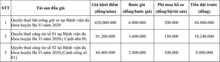 Ngày 18/7/2020, đấu giá quyền thuê bãi trông giữ xe và quyền thuê căng tin tại bệnh viện đa khoa huyện Ba Vì, Hà Nội ảnh 1