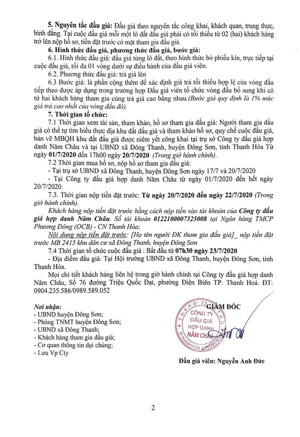 Ngày 23/7/2020, đấu giá quyền sử dụng đất tại huyện Đông Sơn, tỉnh Thanh Hóa ảnh 2