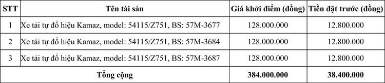 Ngày 8/7/2020, đấu giá 03 xe tải tự đổ hiệu Kamaz tại TPHCM  ảnh 3