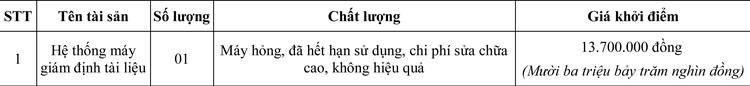 Ngày 17/7/2020, đấu giá hệ thống máy giám định tài liệu tại Hà Nội  ảnh 1