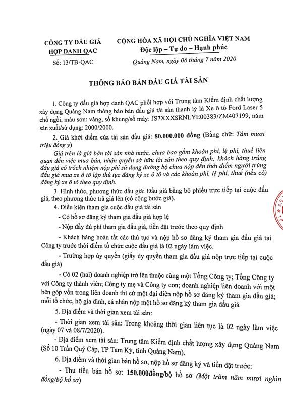 Ngày 21/7/2020, đấu giá xe ô tô Ford tại tỉnh Quảng Nam ảnh 1