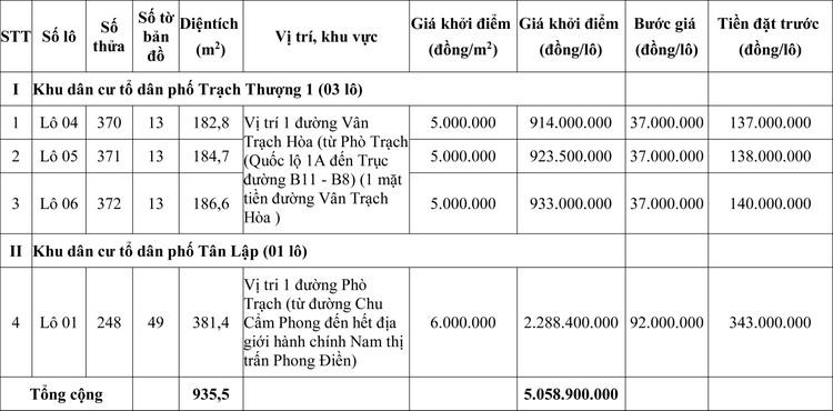 Ngày 8/8/2020, đấu giá quyền sử dụng đất tại huyện Phong Điền, tỉnh Thừa Thiên Huế ảnh 1