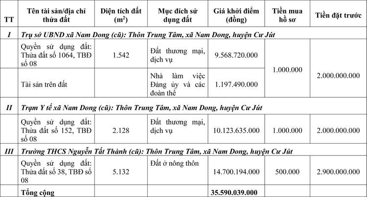 Ngày 7/8/2020, đấu giá quyền sử dụng đất tại huyện Cư Jút, tỉnh Đắk Nông ảnh 1