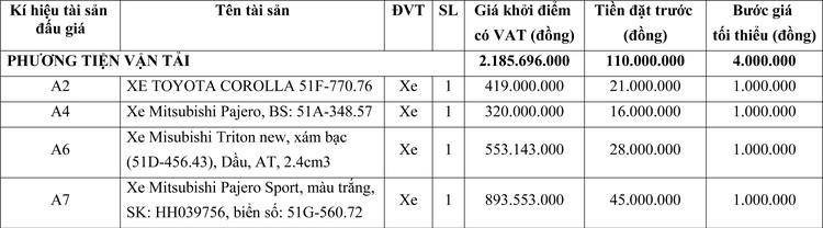 Ngày 29/7/2020, đấu giá phương tiện vận tải tại TPHCM ảnh 1
