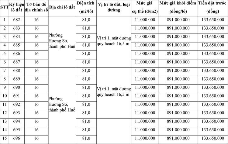 Ngày 8/8/2020, đấu giá quyền sử dụng đất tại thành phố Huế, tỉnh Thừa Thiên Huế ảnh 1