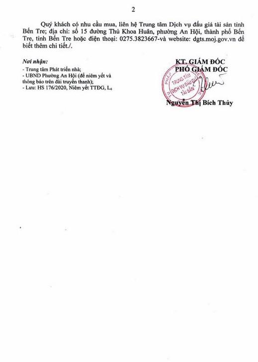 Ngày 20/8/2020, đấu giá quyền sử dụng đất tại thành phố Bến Tre, tỉnh Bến Tre ảnh 2