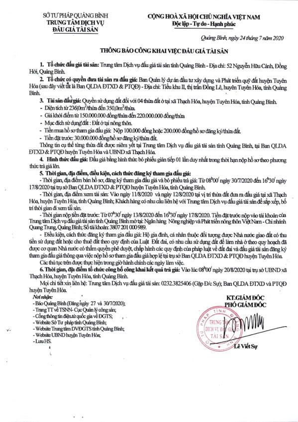 Ngày 20/8/2020, đấu giá quyền sử dụng đất tại huyện Tuyên Hóa, tỉnh Quảng Bình ảnh 1
