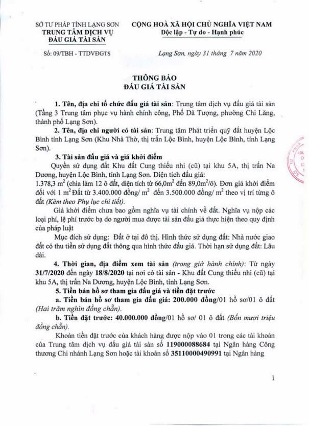 Ngày 21/8/2020, đấu giá quyền sử dụng đất tại huyện Lộc Bình, tỉnh Lạng Sơn ảnh 1