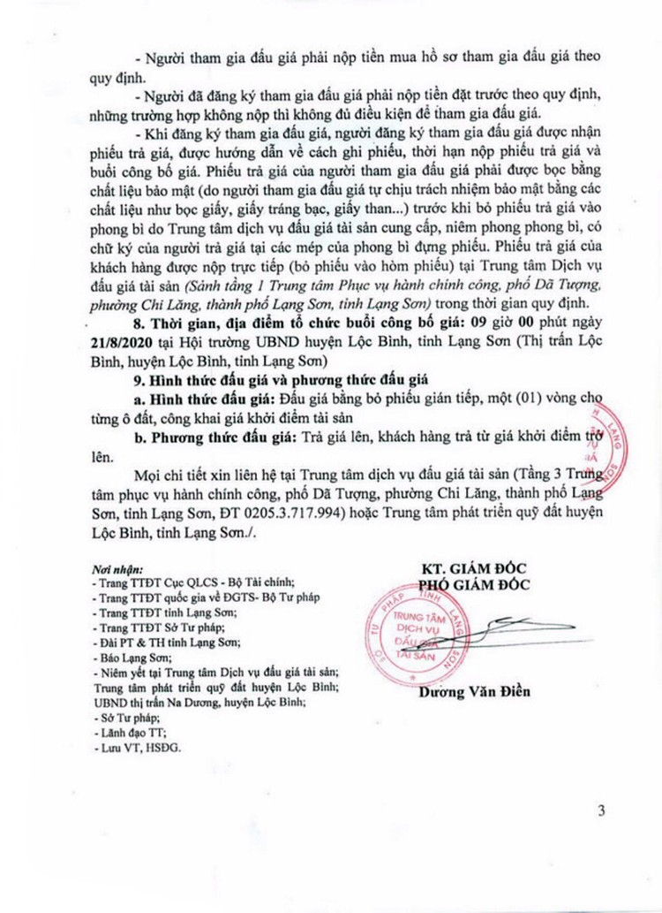 Ngày 21/8/2020, đấu giá quyền sử dụng đất tại huyện Lộc Bình, tỉnh Lạng Sơn ảnh 3