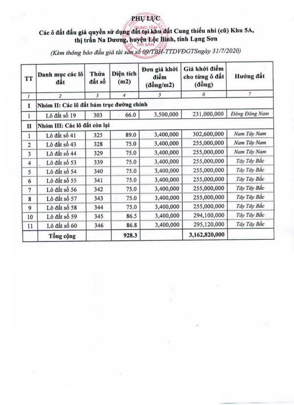 Ngày 21/8/2020, đấu giá quyền sử dụng đất tại huyện Lộc Bình, tỉnh Lạng Sơn ảnh 4