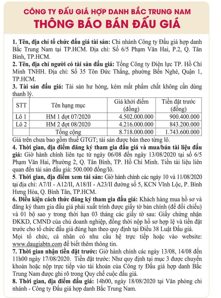 Ngày 18/8/2020, đấu giá tài sản hư hỏng kém phẩm chất tại TPHCM ảnh 1