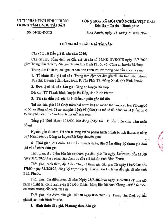 Ngày 3/9/2020, đấu giá tang vật vi phạm hành chính bị tịch thu tại tỉnh Bình Phước ảnh 1