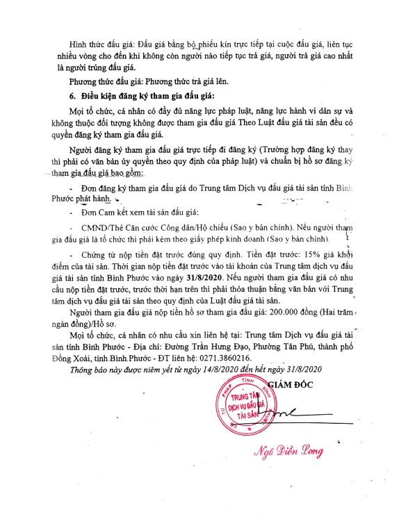 Ngày 3/9/2020, đấu giá tang vật vi phạm hành chính bị tịch thu tại tỉnh Bình Phước ảnh 2