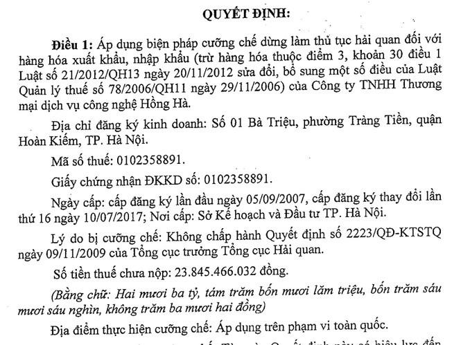 Chưa nộp 23,8 tỷ đồng tiền thuế, một công ty ở Hà Nội bị hải quan cưỡng chế ảnh 1
