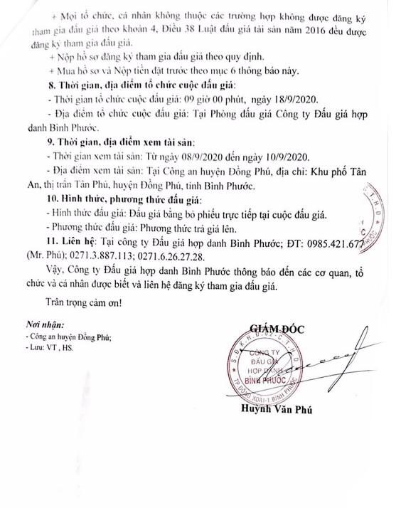 Ngày 18/9/2020, đấu giá tang vật, phương tiện vi phạm hành chính bị tịch thu tại tỉnh Bình Phước ảnh 2