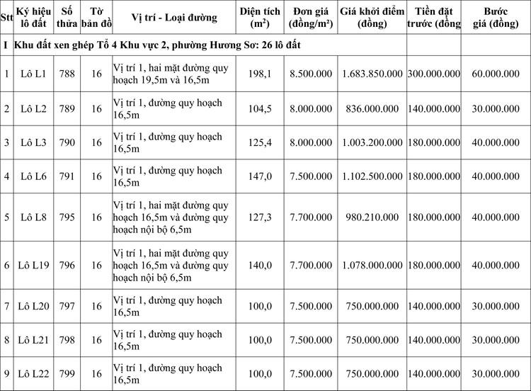 Ngày 24/9/2020, đấu giá quyền sử dụng đất tại thành phố Huế, tỉnh Thừa Thiên Huế ảnh 1