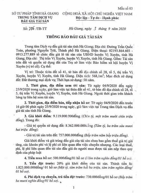 Ngày 28/9/2020, đấu giá quyền sử dụng đất tại huyện Vị Xuyên, tỉnh Hà Giang ảnh 1