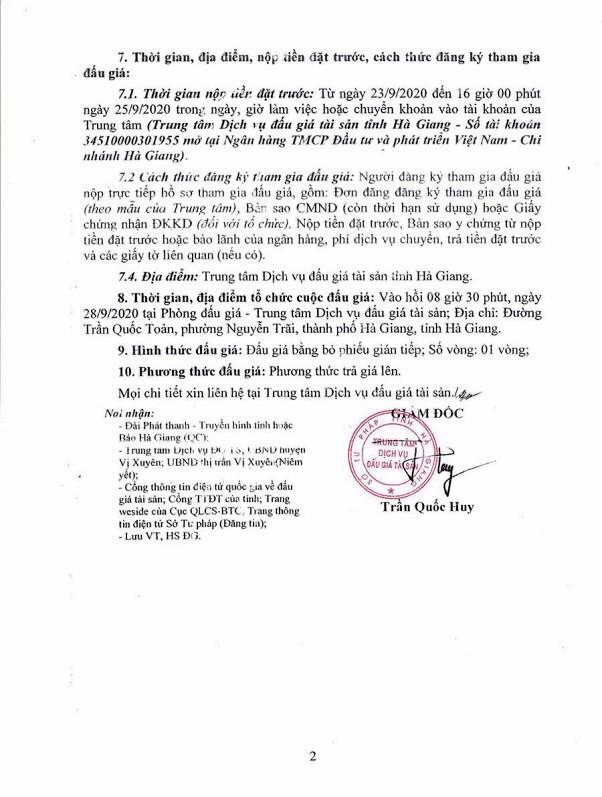Ngày 28/9/2020, đấu giá quyền sử dụng đất tại huyện Vị Xuyên, tỉnh Hà Giang ảnh 2