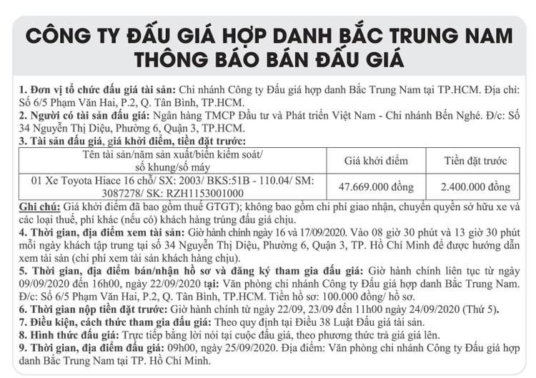 Ngày 25/9/2020, đấu giá xe ô tô toyota tại TPHCM ảnh 1