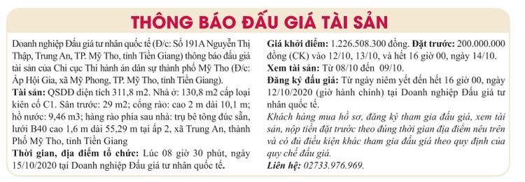 Ngày 15/10/2020, đấu giá quyền sử dụng đất tại thành phố Mỹ Tho, tỉnh Tiền Giang ảnh 1