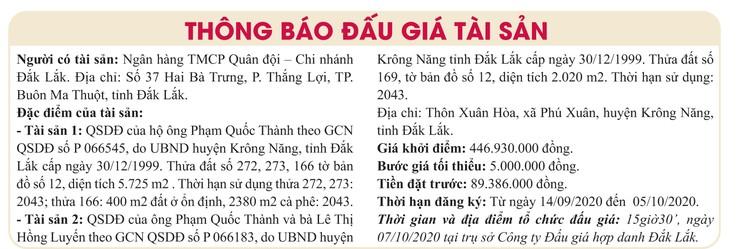 Ngày 7/10/2020, đấu giá quyền sử dụng đất tại huyện Krông Năng, tỉnh Đắk Lắk ảnh 1