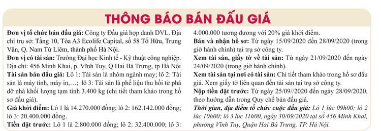 Ngày 30/9/2020, đấu giá tài sản là nhóm ngành may, máy tính, máy in và phế liệu thu hồi tại Hà Nội ảnh 1