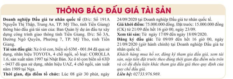Ngày 24/9/2020, đấu giá xe ô tô Toyota tại tỉnh Tiền Giang ảnh 1