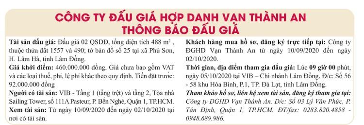 Ngày 5/10/2020, đấu giá quyền sử dụng đất tại huyện Lâm Hà, tỉnh Lâm Đồng ảnh 1