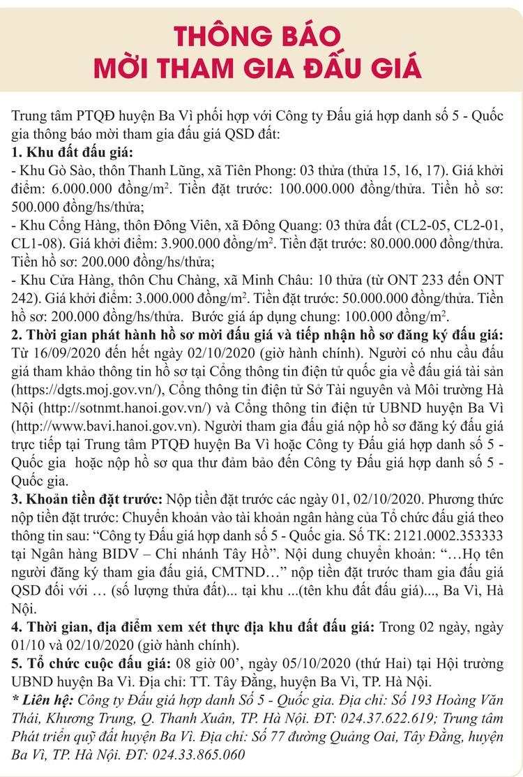 Ngày 5/10/2020, đấu giá quyền sử dụng đất tại huyện Ba Vì, tỉnh Hà Nội ảnh 1