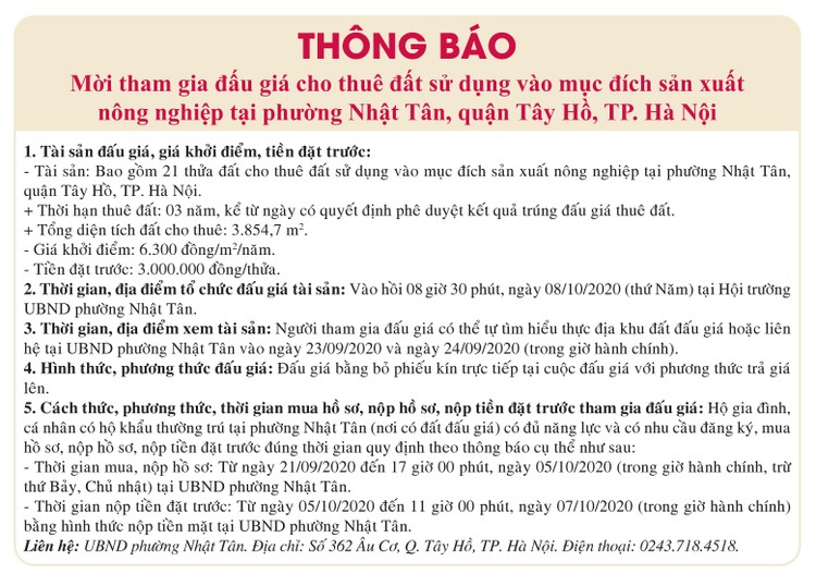 Ngày 8/10/2020, đấu giá quyền sử dụng đất tại quận Tây Hồ, Hà Nội ảnh 1