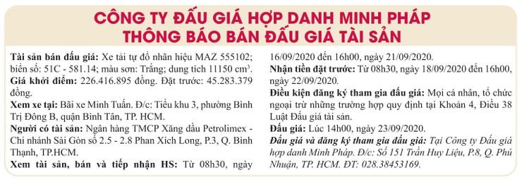 Ngày 23/9/2020, đấu giá xe tải tự đổ MAZ tại TPHCM ảnh 1