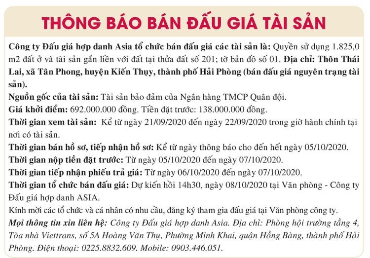 Ngày 8/10/2020, đấu giá quyền sử dụng đất tại huyện Kiến thụy, tỉnh Hải Phòng ảnh 1