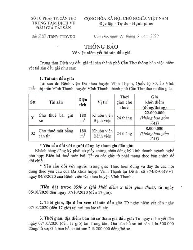 Ngày 12/10/2020, đấu giá cho thuê mặt bằng tại Bệnh viên đa khoa huyện Vĩnh Thạnh, thành phố Cần Thơ ảnh 1