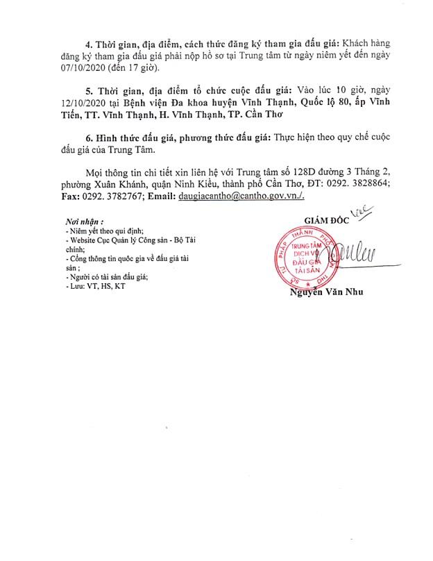 Ngày 12/10/2020, đấu giá cho thuê mặt bằng tại Bệnh viên đa khoa huyện Vĩnh Thạnh, thành phố Cần Thơ ảnh 2