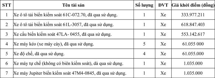 Ngày 8/10/2020, đấu giá tang vật tịch thu sung quỹ tại tỉnh Đăk Nông ảnh 1