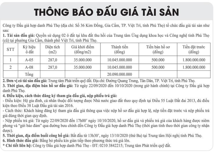 Ngày 13/10/2020, đấu giá quyền sử dụng đất tại thành phố Việt Trì, Phú Thọ ảnh 1