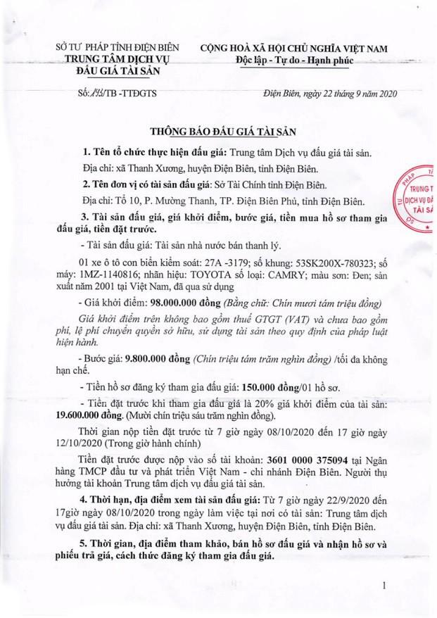 Ngày 13/10/2020, đấu giá xe ô tô Toyota tại tỉnh Điện Biên ảnh 1